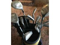 Full set of right-handed golf clubs, bag and trolley