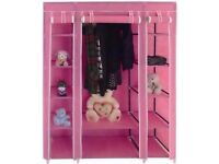 SALE *** PINK TRIPLE MULTIPLE CANVAS WARDROBE WITH HANGING RAIL HOME FURNITURE STORAGE £19.99