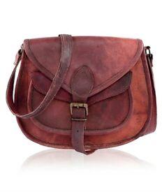 """Retro Vintage Hunter Leather 11"""" Handmade Unisex Shoulder Bag"""