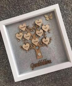 Personalised box frame family tree