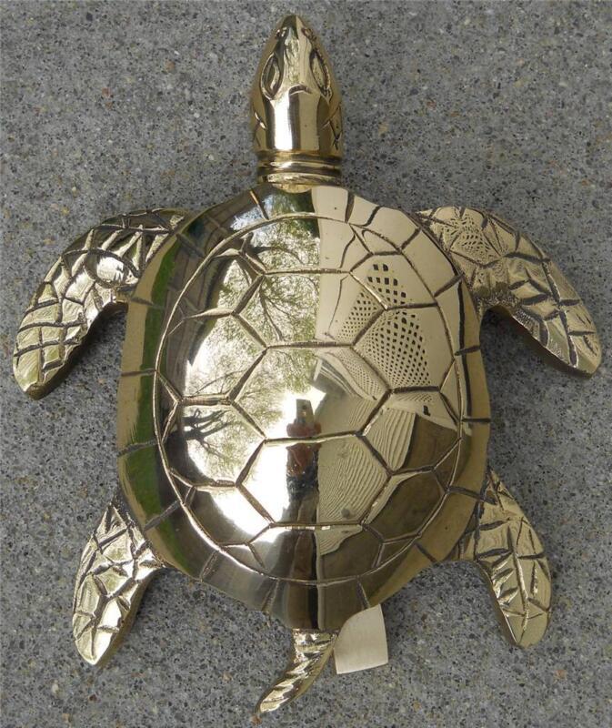 Large Solid Brass Sea Turtle Doorknocker Door Knocker Turtles Nautical Decor