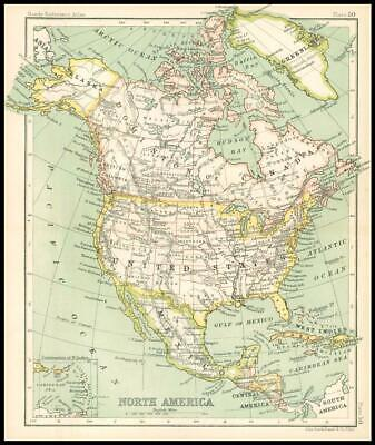 c1912 Map of NORTH AMERICA Chart Regions (BS55)