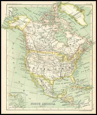 c1912 Map of NORTH AMERICA Chart Regions (BS55)