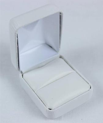 Ring Box White Faux Synthetic Leather