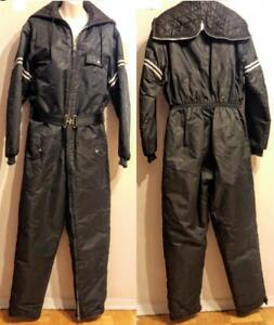 Oakville UNISEX One-piece Ski Suit Vintage Retro 38 40 Mens M Womens L Black White Nylon Canada SKIDOO Snowmobile Outfit