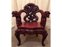 Antique Chair - Chinese Asian Wood Carved Dragon Lion Foo Dog Armchair - Rare See Delivery