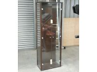 Tall dark wood glass display cabinet with light