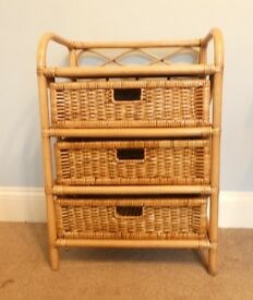 Ratten / Wicker Chest of Drawers with Three Drawers