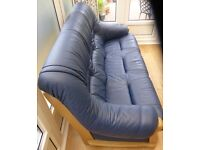 3 seater blue leather settee for sale