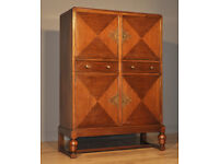 Attractive Large Vintage Mahogany Four Door Drinks Cabinet Cupboard With Drawers