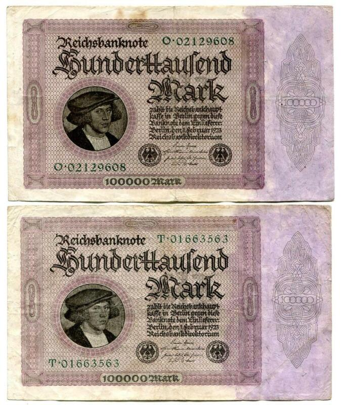 Two Original German 1923 100000 Hundred Thousand  Mark  Reichsbanknotes Berlin A
