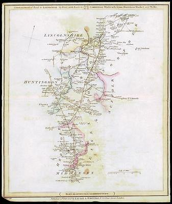 1806 Antique Road Map MIDDLESEX HUNTINGDON LINCOLNSHIRE NORFOLK SUFFOLK