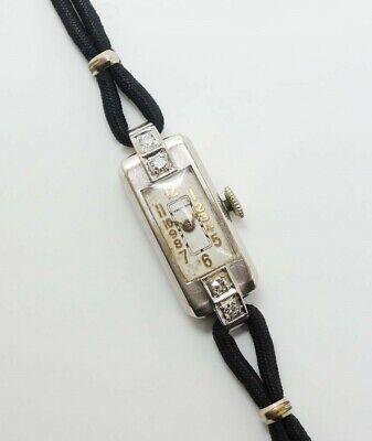Vintage Waltham Art Deco 14K White Gold Diamond 17J Wristwatch for Restoration