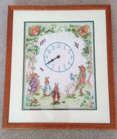 Beatrix Potter Inspired Cross Stitch Framed Clock
