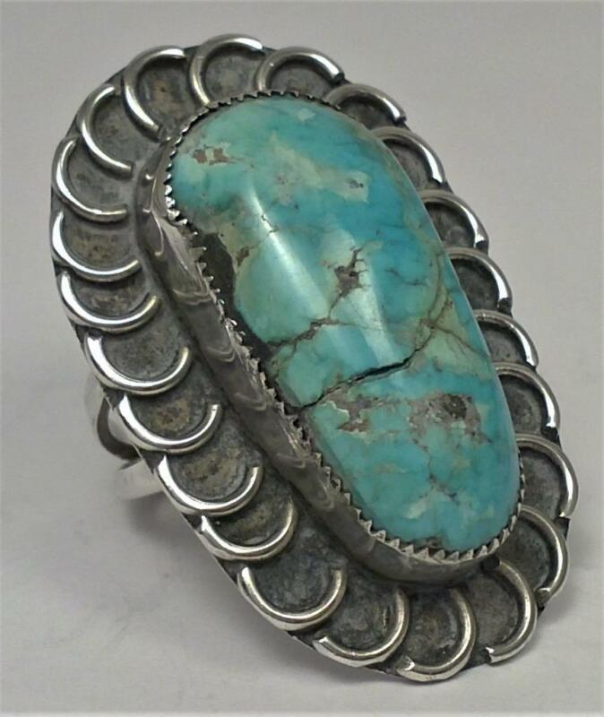 Vintage Solid Silver Ring set with Turquoise (UK size O ) – c1980