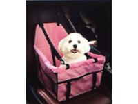 Car booster seat for dogs ,folding pet carrier ,Adjustable safety leash included,