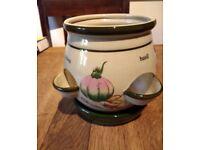 2 ceramic pots-a herb planter and a gold decorative pot