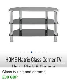 Glass n chrome tv unit