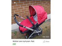 Mothercare my4 pram. Red.