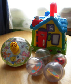 LeapFrog My Discovery House & Little Tin Top & 4 Activity Balls - used