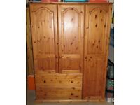 Solid Pine Triple Wardrobe with Deep Storage Draws in Antique pine finish