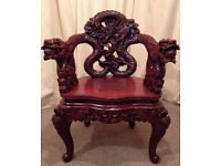 Antique Asian Chair - Chinese Export Wood Carved Dragon Lion Foo Dog Armchair - Rare