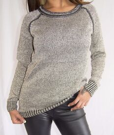 Stay Warm and Fabulous in this Dark Gold Metallic Knit Jumper - Size 10