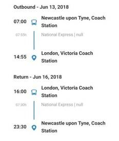 Coach Tickets Newcastle To London (+Return) x2