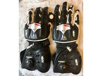 Knox Handroid Racing Motorbike Gloves Tan Kangaroo Leather Large New