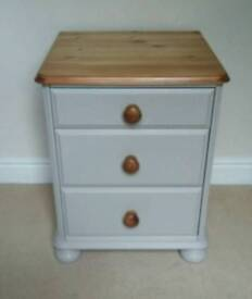 Pine bedside cabinet table painted in Laura Ashley French pale grey