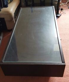 Ikea Ramvik Glass Topped Coffee table Brown/Black with drawers (2nd hand, used)