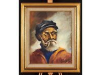 Signed oil on canvas painting of a Fisherman by Henri Rowet (Belgian, XXth)