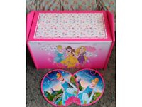Pink Disney Princess Wooden Toy Box / Storage Bench Seat + 2 Hanging Signs