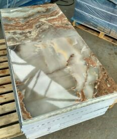 TILES JOBLOT: Grey/ brown marble effect polished porcelain tiles 60x60cm 30sqm