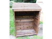 """Wooden Log Store Overlap Cladding Timber Framing 5' x 42"""" x 24.5"""" Collect Only Sutton-in-Ashfield"""