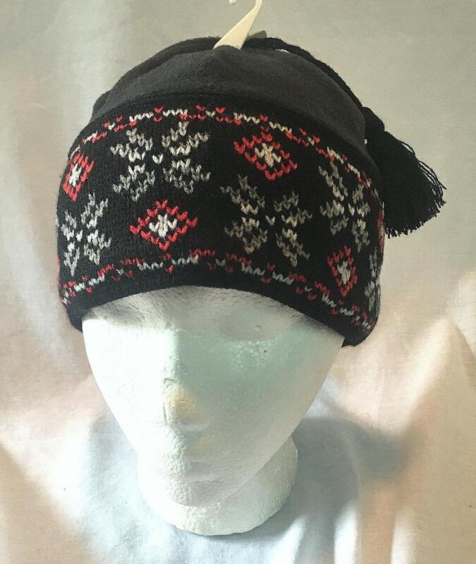 Columbia Youth Unisex Snowflinga Winter Snow Ski Beanie Black Red NEW