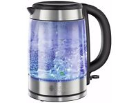 *BRAND NEW Russell Hobbs 21600 1.7 Litres 3kW Illuminating Glass Cordless Jug Kettle*