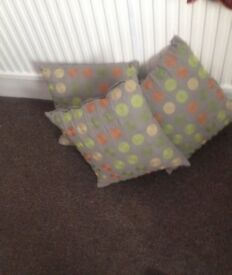 Cushions Green Multi Coloured With Embroidery New x 3