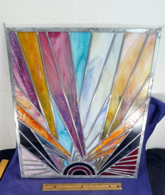 STUNNING Beautiful Vintage Leaded Stained Glass Window Sunburst Sunray !