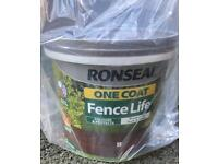 New Ronseal one coat Fence Paint 5lt x 2 tubs
