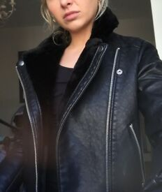 Topshop faux leather jacket with fur collar