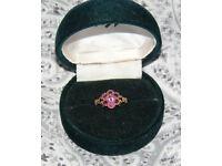 9 Carat Gold Garnet Cluster Flower Ring **Size H**