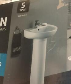 Brand new Bristan cloakroom basin and pedestal
