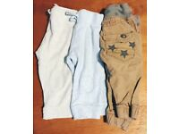 Boys two pairs of joggers one pair of cargo trousers 3-6 months