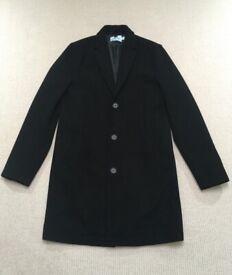 Topman Black Wool Coat (Sandro, Essentials, Yeezy, Kanye, Dior, Rick, Jordan, YSL, Kooples)
