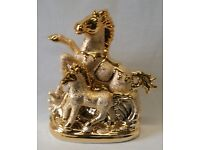 LARGE ITALIAN GOLD WITH SILVER CERAMIC HORSE ORNAMENT CHINA ROMANY GYPSY