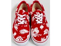 Women's Size 3 Red and White Floral Vans Trainers