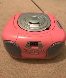 Pink CD player with radio