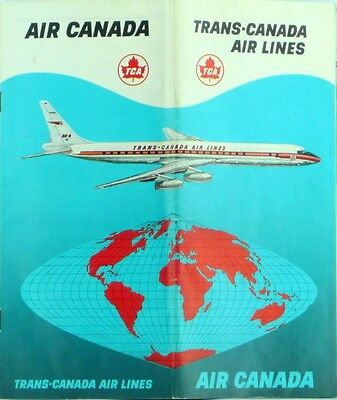 Trans Canada Air Lines Route System Maps   Promotional Brochure