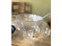 Punch bowl and glass cups